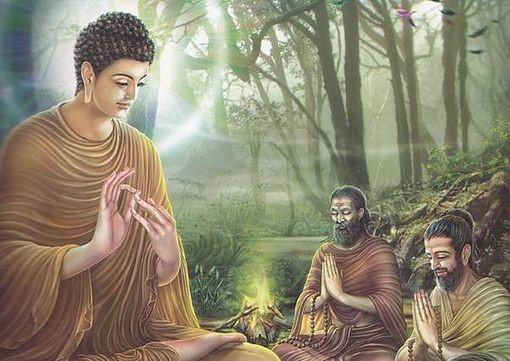 Le Bouddha Gautama avec ses disciples