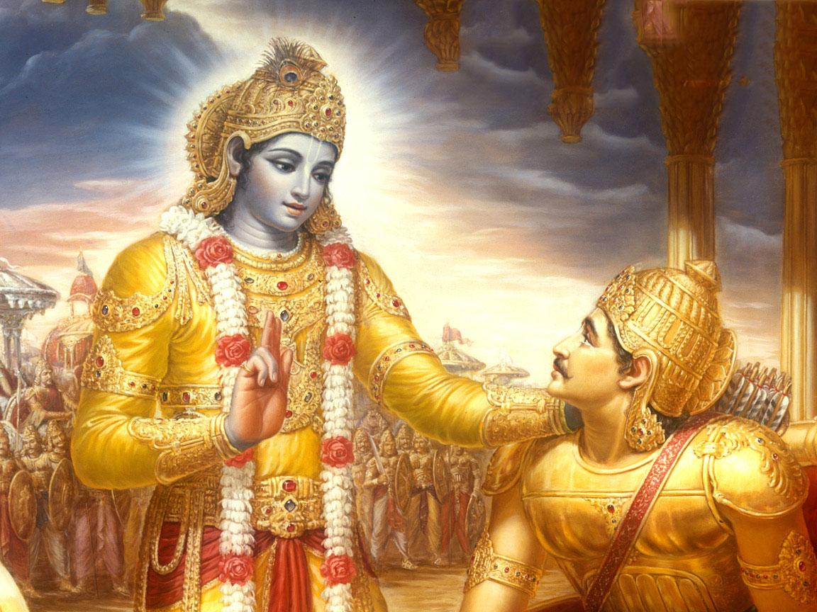 Krishna, l'Avatar Hindou (à gauche) et Arjuna